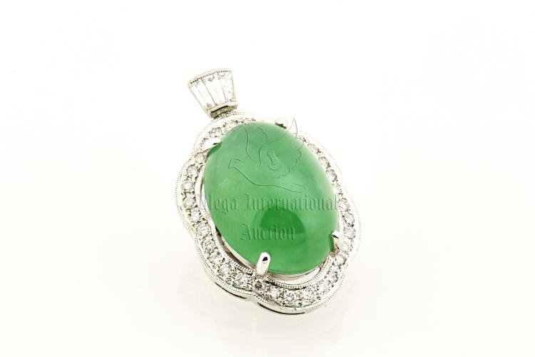EMERALD GREEN JADEITE AND DIAMOND PENDANT WITH GIA CERTIFICATE