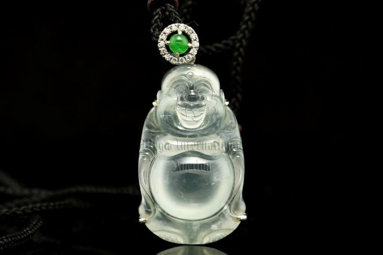 ICY JADEITE MILEFO AND DIAMOND PENDANT WITH CERTIFICATE