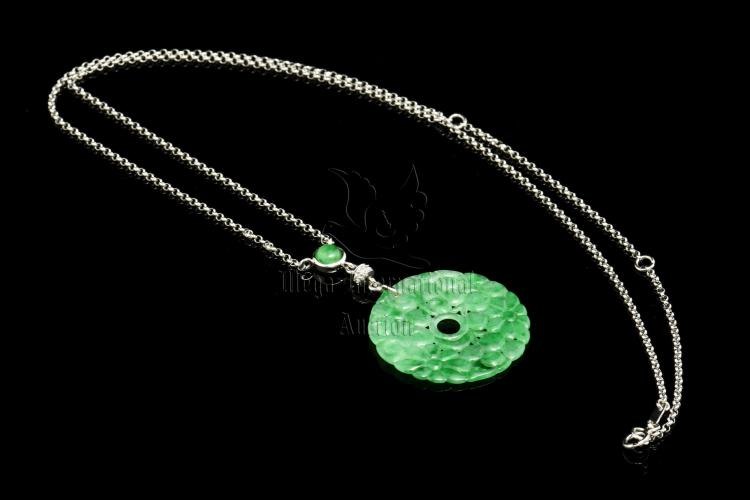 JADEITE PENDANT AND NECKLACE WITH GIA CERTIFICATE