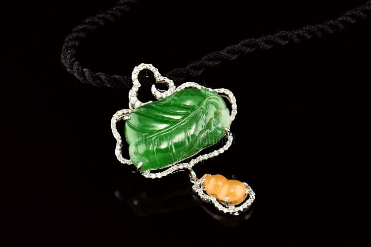 JADEITE LEAF AND CALABASH DIAMOND PENDANT WITH GIA CERTIFICATE