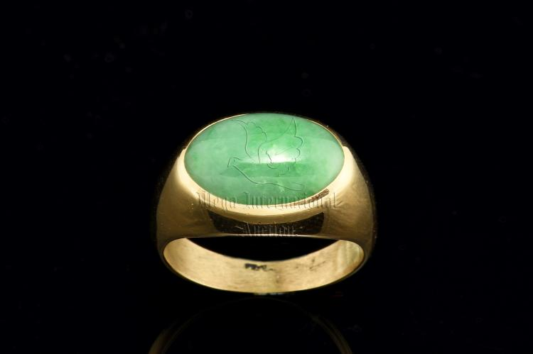 GOLD JADEITE RING WITH GIA REPORT