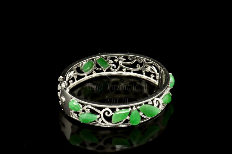 JADEITE AND DIAMOND BANGLE WITH GIA CERTIFICATE