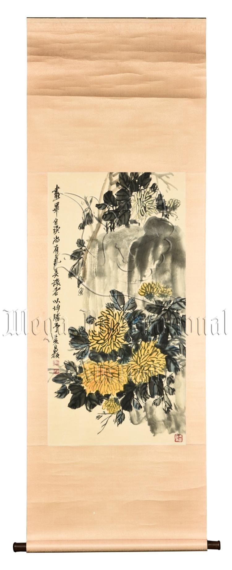 WU CHANGSHUO: INK AND COLOR PAINTING 'CHRYSANTHEMUM FLOWERS'