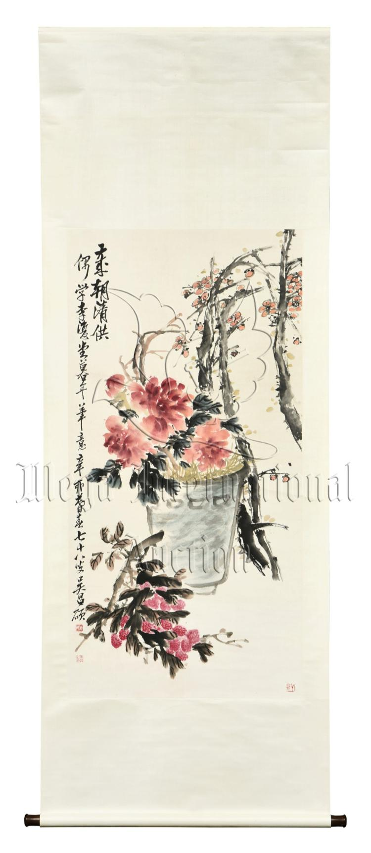 WU CHANGSHUO: INK AND COLOR PAINTING 'PEONY FLOWERS'