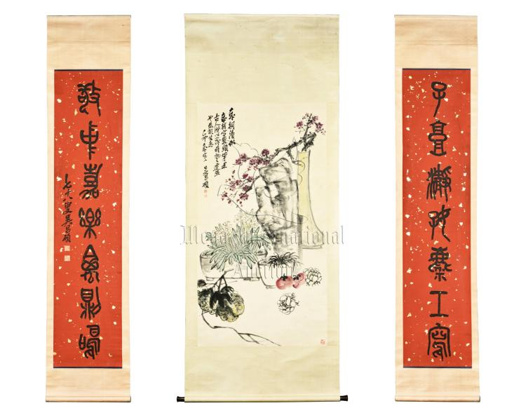 WU CHANGSHUO: INK AND COLOR ON PAPER PAINTING WITH PAIR OF RHYTHM COUPLET CALLIGRAPHY