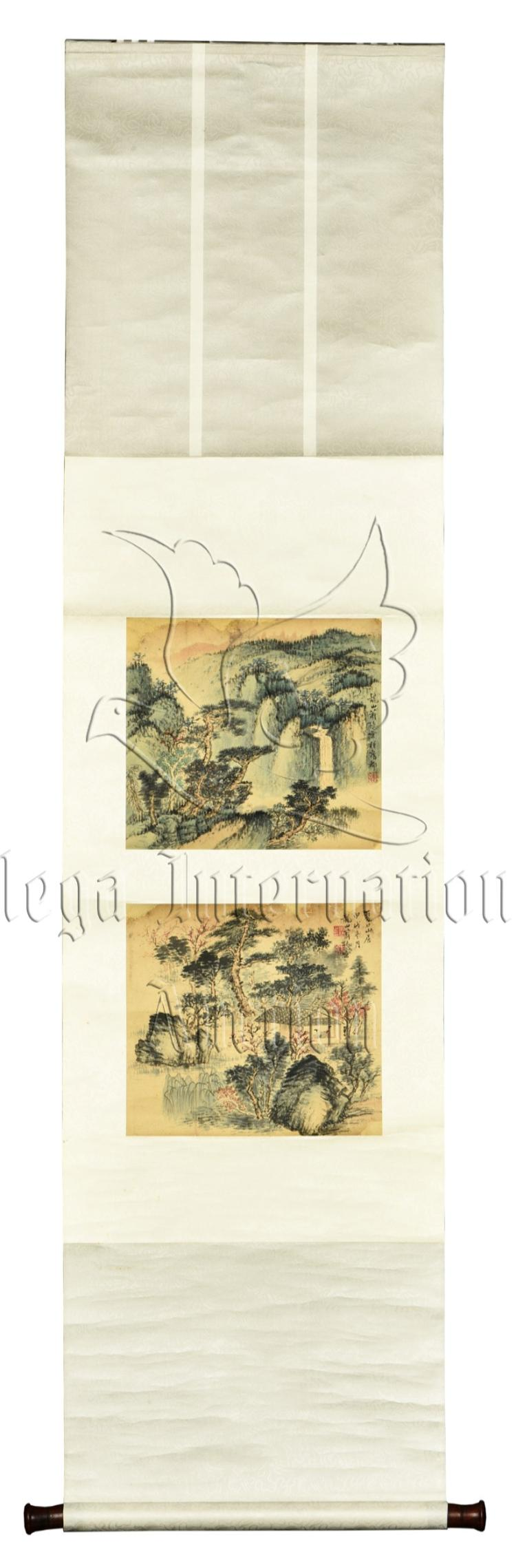 XIAO XUN: INK AND COLOR ON PAPER PAINTING 'LANDSCAPE SCENERY'