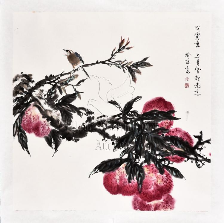 YU JIGAO: INK AND COLOR ON PAPER 'PEACHES' PAINTING