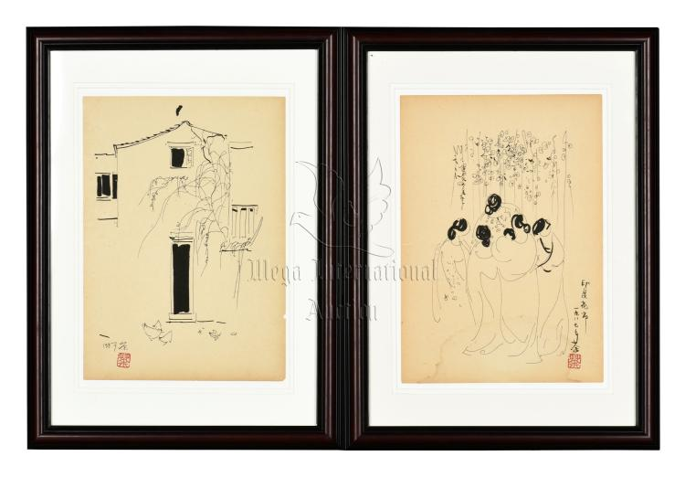 WU GUANZHONG: TWO FRAMED SKETCHES