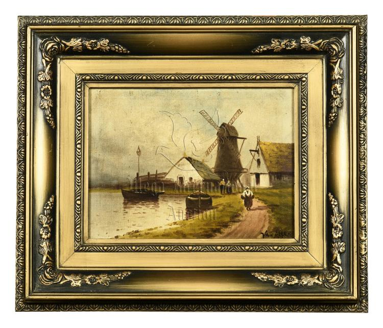 FRAMED OIL PAINTING 'WINDMILL'