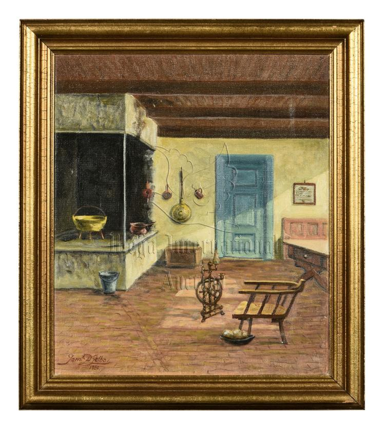 JENS DFELBO: FRAMED OIL PAINTING 'HOME FURNISHING'