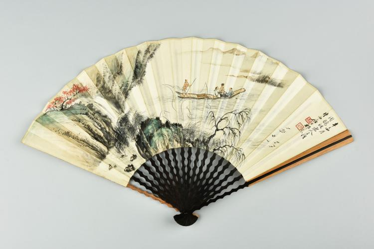 QI KUN: INK AND COLOR ON FAN PAINTING AND CALLIGRAPHY