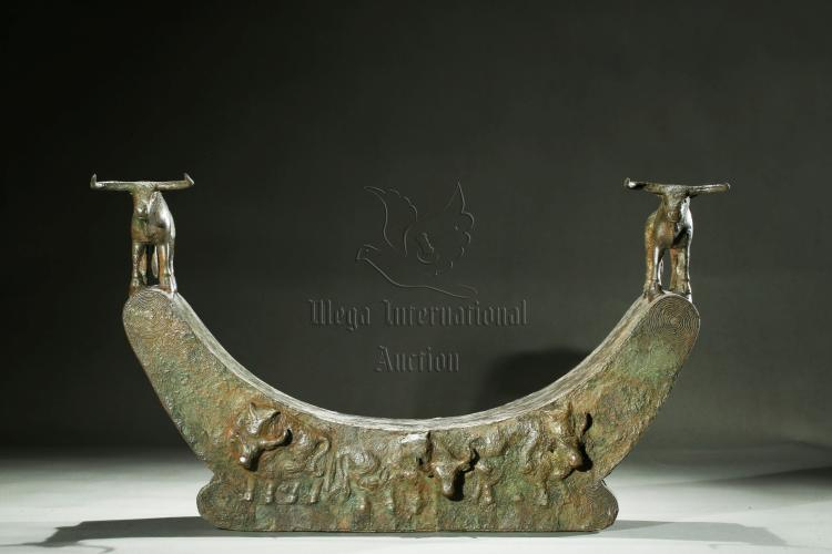 ARCHAIC BRONZE 'BULLS' PILLOW