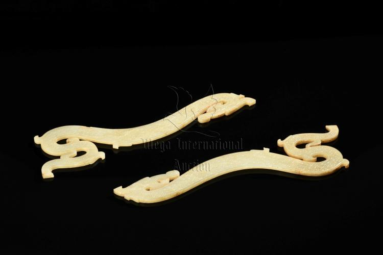 PAIR OF WHITE JADE CARVED S DRAGON ORNAMENTS