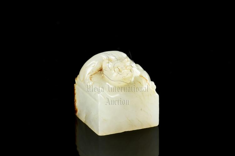 WHITE JADE CARVED 'CHILONG' STAMP SEAL