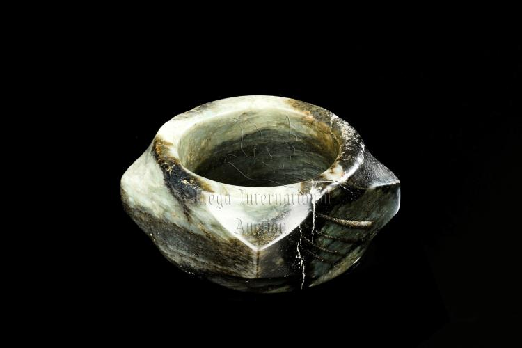 YELLOW-BROWN AND CELADON-BLACK JADE CONG