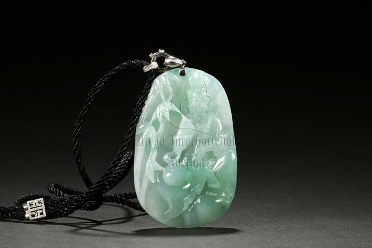 ICY JADEITE CARVED GUANYIN PENDANT