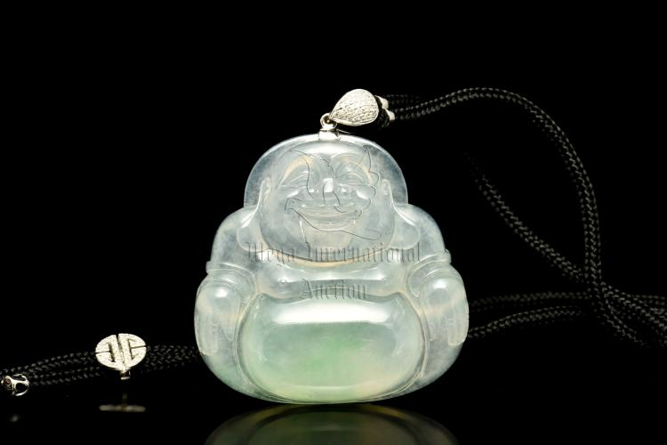 ICY JADEITE MILEFO AND DIAMOND PENDANT WITH GIA CERTIFICATE