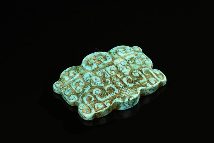 TURQUOISE STONE CARVED ORNAMENT