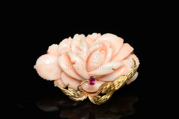 PINK CORAL FLOWER AND RUBY BROOCH