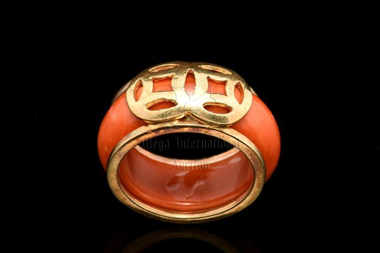 ORANGE RED CORAL RING
