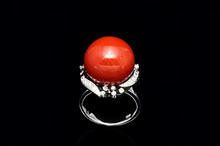 AKA RED CORAL AND DIAMOND RING WITH GIA CERTIFICATE