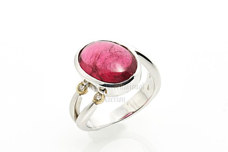 PINK TOURMALINE WHITE GOLD RING