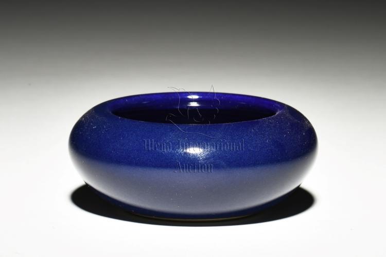 MONOCHROME BLUE GLAZED SPITTOON