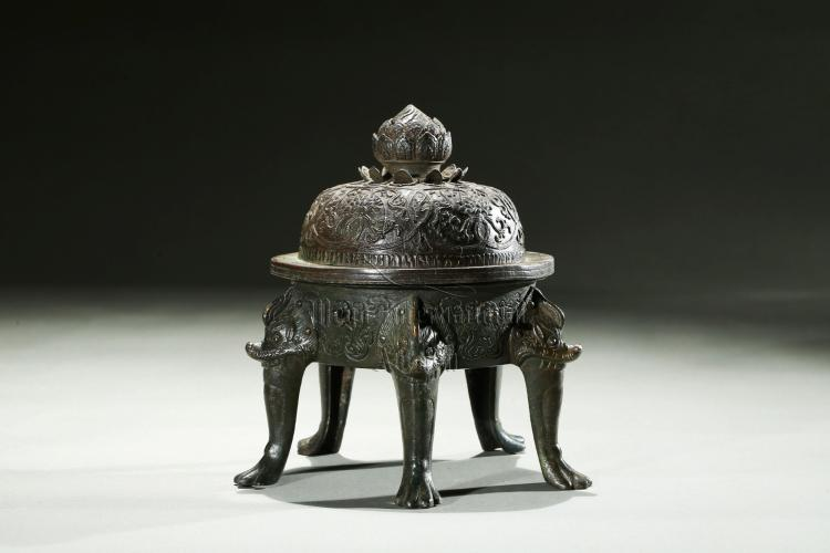 BRONZE CAST 'MYTHICAL BEAST' CENSER WITH FIVE LEGS