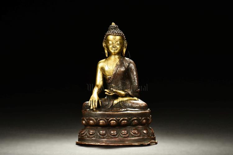 GILT BRONZE SHAKYAMUNI SEATED FIGURE