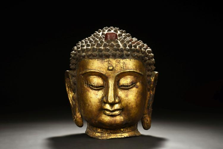 GILT BRONZE SHAKYAMUNI HEAD