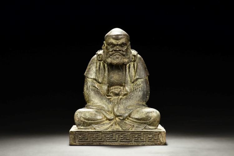 BRONZE CAST BODHIDHARMA SEATED FIGURE