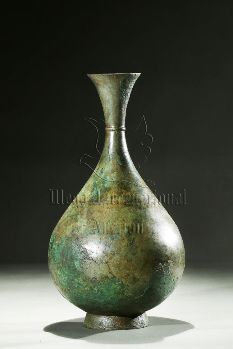 BRONZE CAST BOTTLE VASE