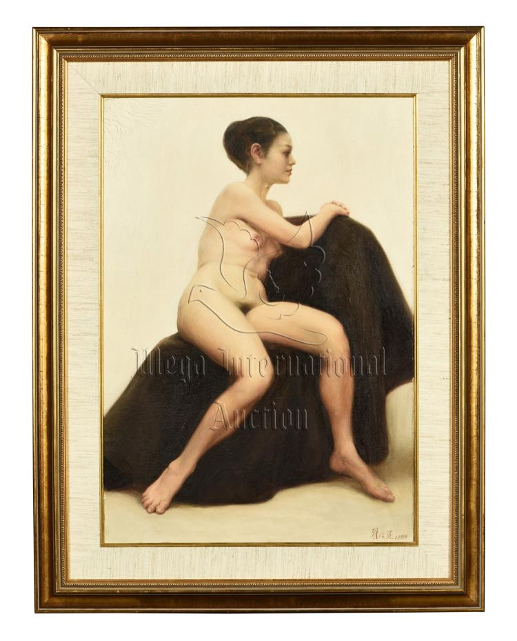 ZHAI XINJIAN: FRAMED OIL PAINTING 'NUDE GIRL'