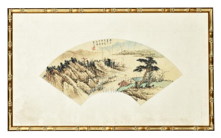 HUANG JUNBI: FRAMED INK AND COLOR ON FAN LEAF PAINTING
