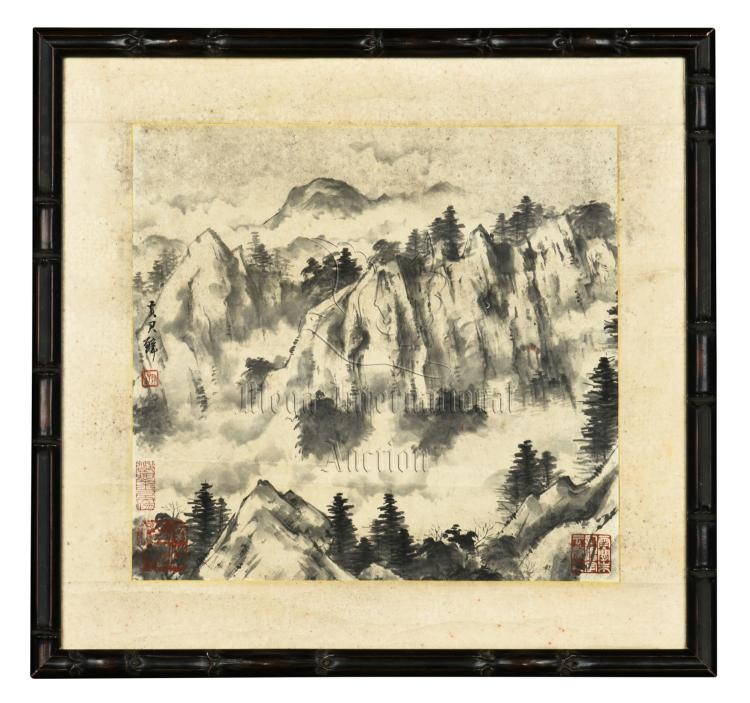 HUANG JUNBI: FRAMED INK ON PAPER PAINTING 'LANDSCAPE SCENERY'