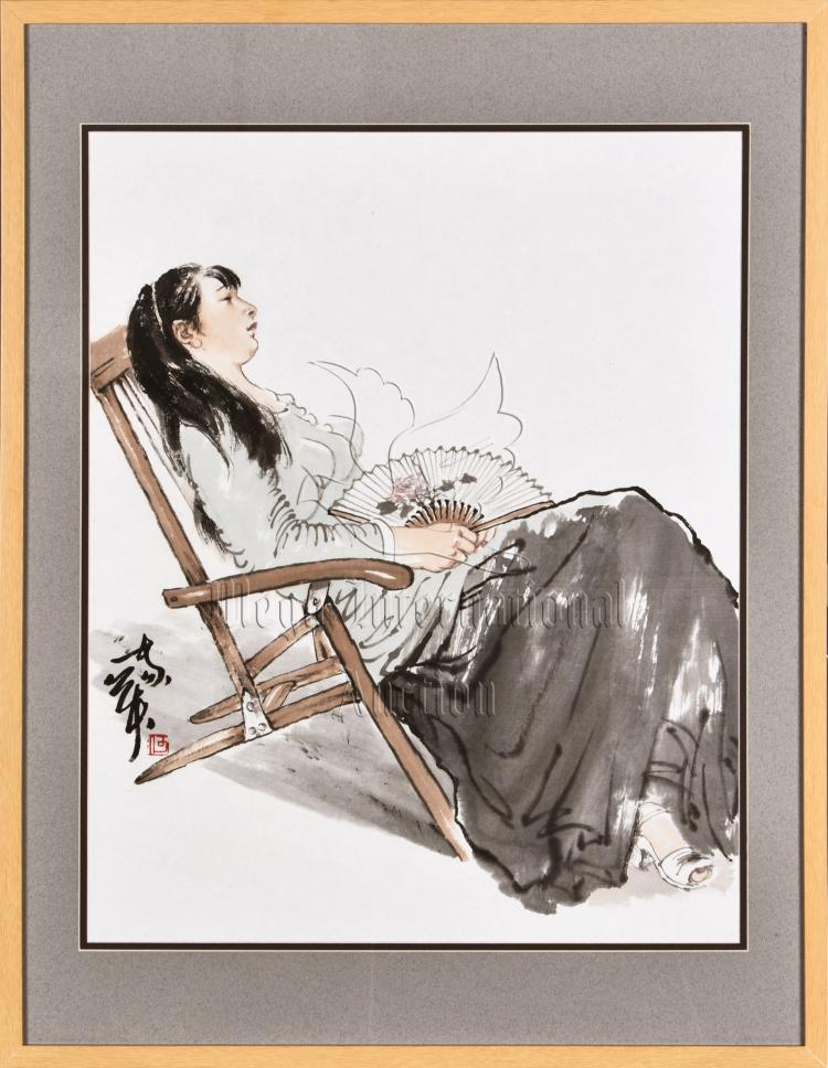 HE JIAYING: FRAMED INK AND COLOR ON PAPER PAINTING 'GIRL'