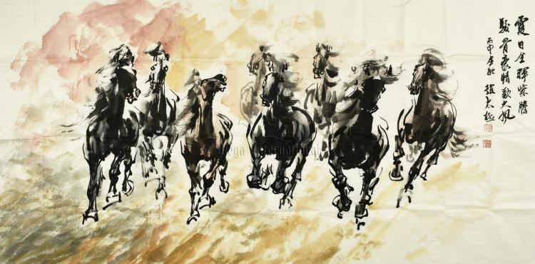 ZHAO TAIJI: INK AND COLOR ON PAPER PAINTING 'HORSES'