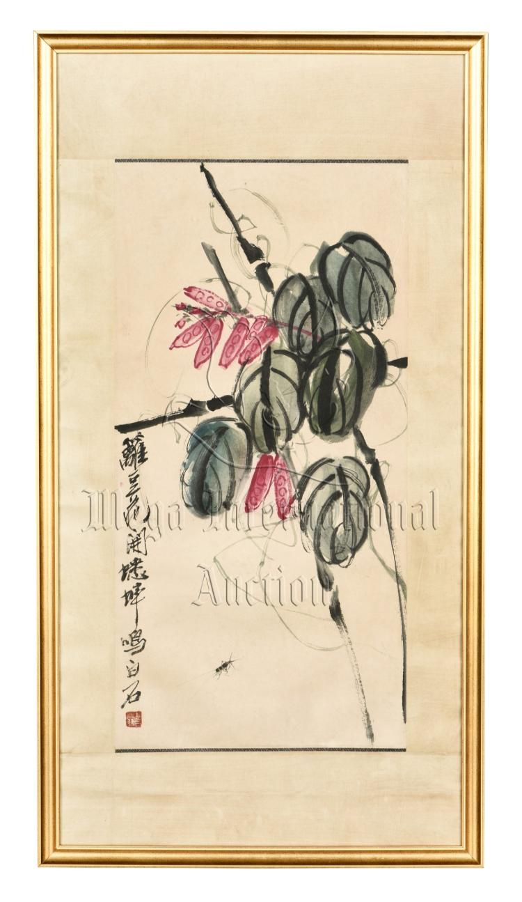 QI BAISHI: FRAMED INK AND COLOR ON PAPER PAINTING 'FLOWERS'