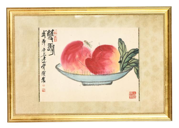 QI BAISHI: FRAMED INK AND COLOR ON PAPER PAINTING 'PEACHES'