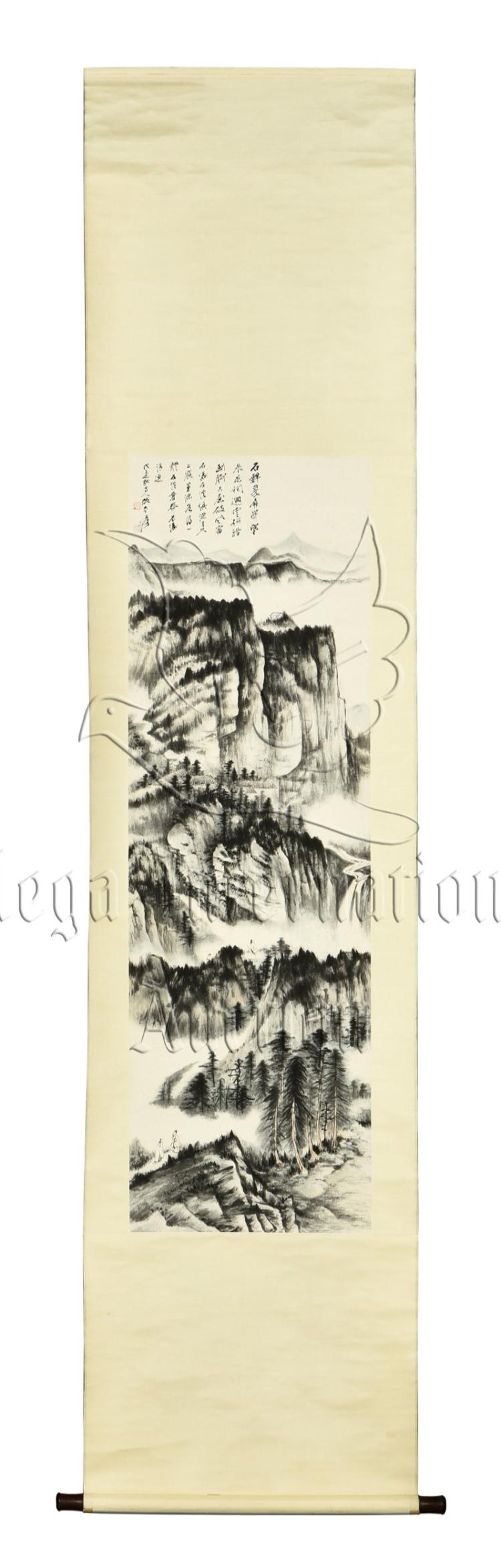 ZHANG DAQIAN: INK ON PAPER PAINTING 'MOUNTAIN LANDSCAPE'