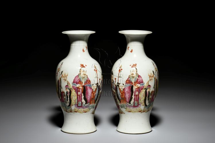 PAIR OF FAMILLE ROSE 'FU LU SHOU' VASES