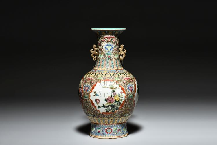 FAMILLE ROSE 'FLOWERS AND BIRDS' VASE WITH HANDLES
