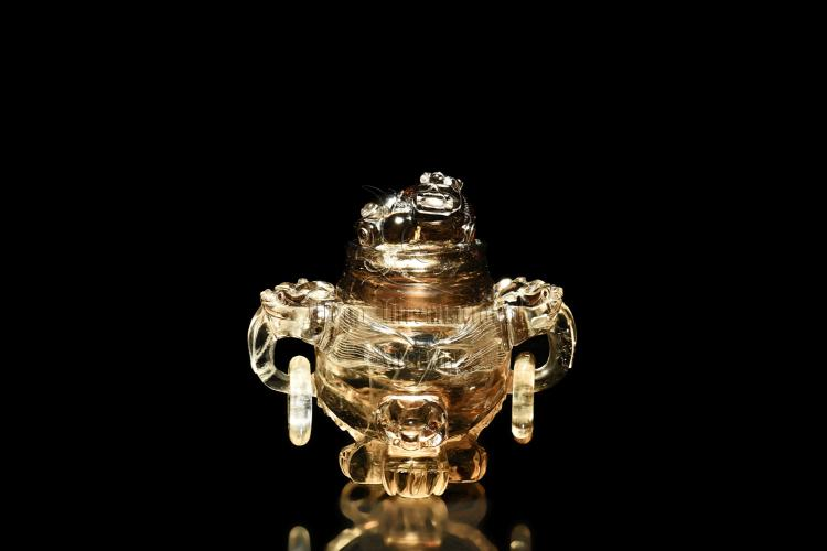 CRYSTAL CARVED 'MYTHICAL BEASTS' CENSER WITH LID