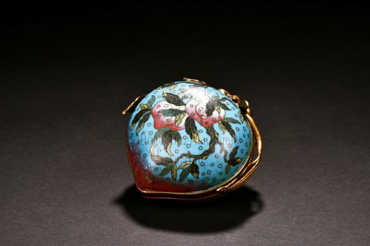 CLOISONNE ENAMELED PEACH SHAPED COVER BOX