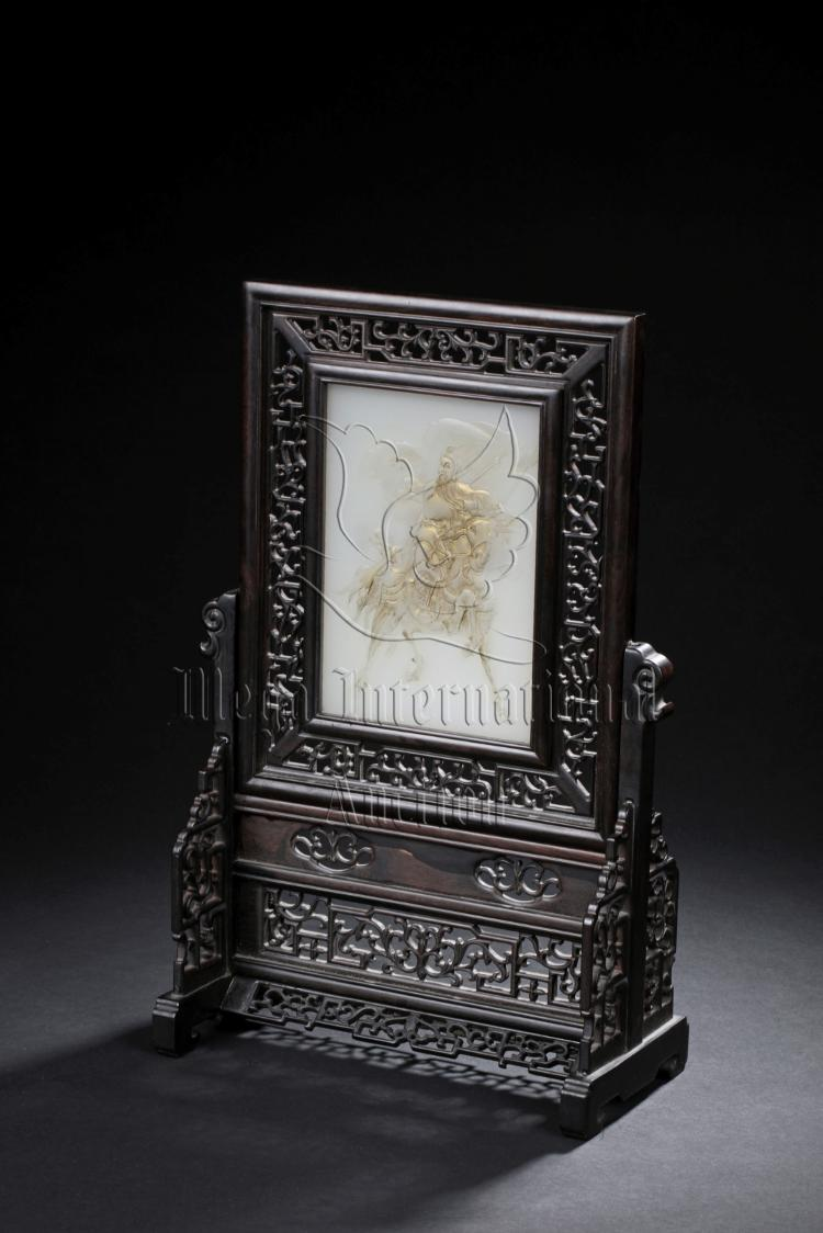 WHITE JADE CARVED 'GUAN YU' PLAQUE INSET ZITAN WOOD TABLE SCREEN