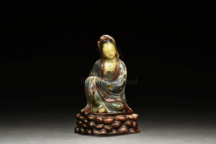 SHOUSHAN FURONG STONE CARVED AND PAINTED GUANYIN