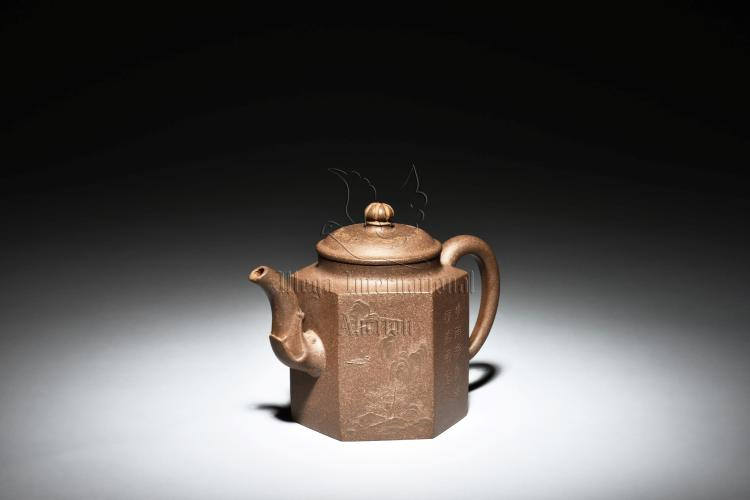 YIXING ZISHA TEAPOT 'LANDSCAPE AND CALLIGRAPHY'