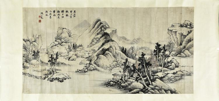 SHEN SHICHONG: INK AND COLOR ON PAPER 'LANDSCAPE' PAINTING
