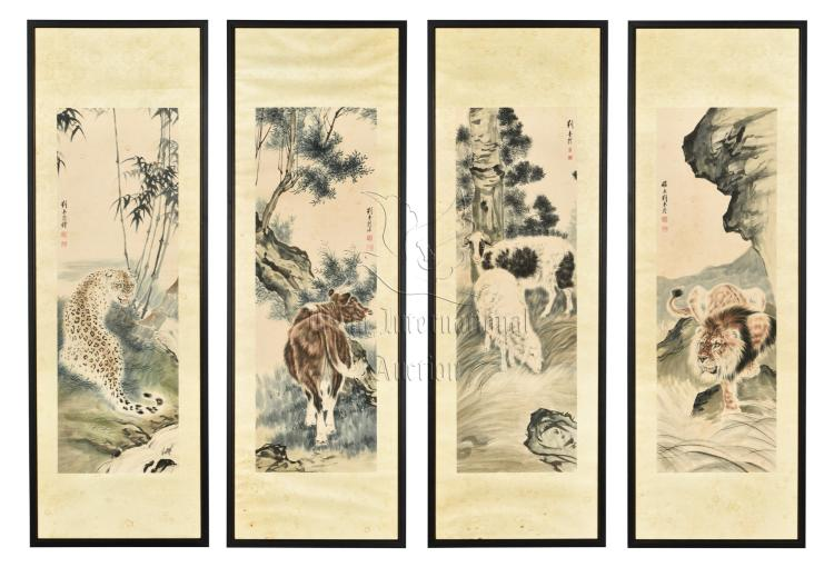 LIU KUILING: FOUR FRAMED INK AND COLOR ON PAPER PAINTINGS 'ANIMALS'