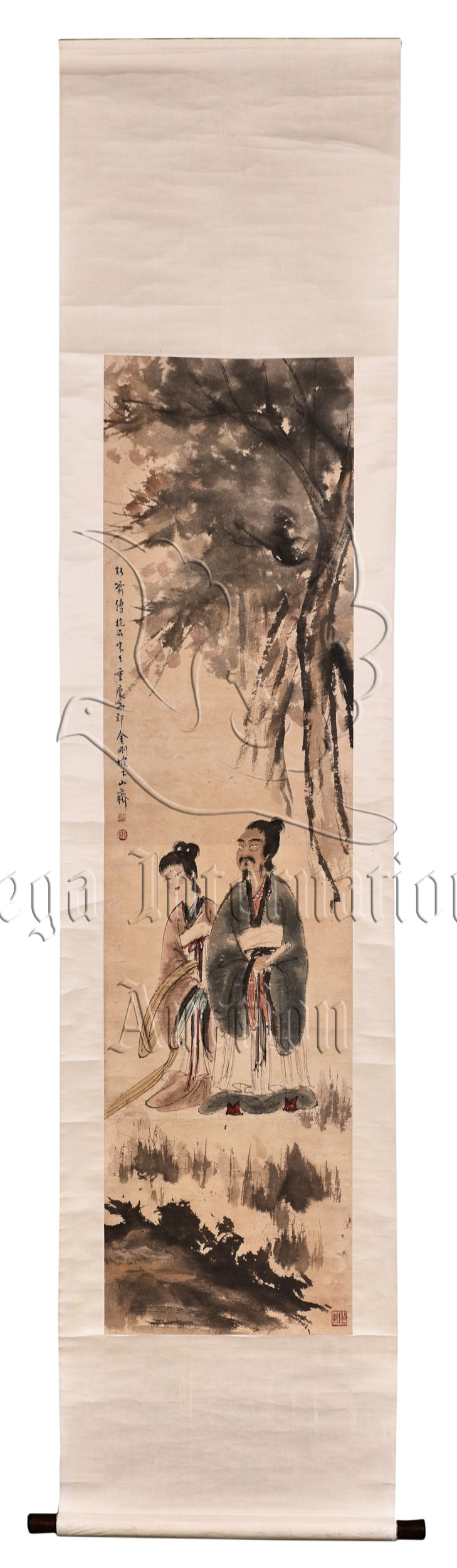 FU BAOSHI: INK AND COLOR ON PAPER 'PEOPLE' PAINTING